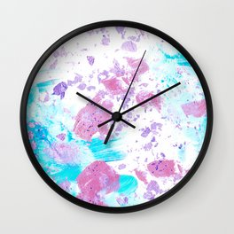 Pink and Blue Metallic Modern Abstract Wall Clock