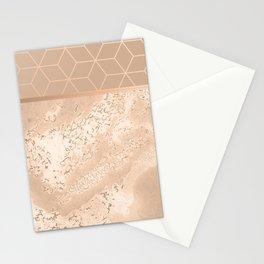 MARBLE HAZELNUT ROSEGOLD & HEXAGONAL Stationery Cards