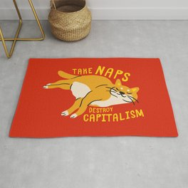 Anti-Capitalist Communist Cat - Take Naps, Destroy Capitalism Red Rug