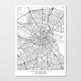 Dublin Map White Canvas Print