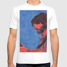 John Bell- Close Up White MEDIUM Mens Fitted Tee