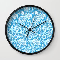 """William Morris Floral Pattern   """"Pink and Rose"""" in Turquoise Blue and White Wall Clock"""