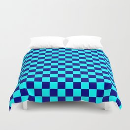 Cyan and Navy Blue Checkerboard Duvet Cover