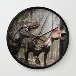 Tyrannosaurus hunting edmontosaurus Wall Clock
