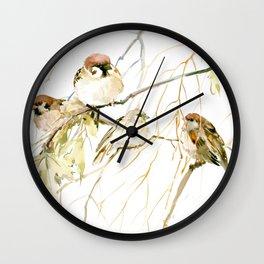 Sparrows on Tree Wall Clock