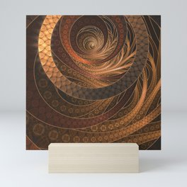 Earthen Brown Circular Fractal on a Woven Wicker Samurai Mini Art Print