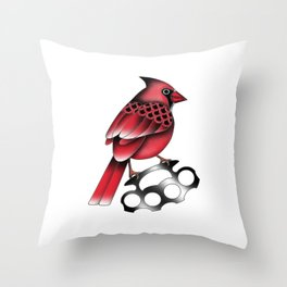 Cardinal and knuckle duster Throw Pillow