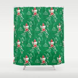 Santa Little Helper Green #Holiday #Christmas Shower Curtain