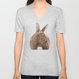Bunny Tail, Brown Bunny Rabbit, Baby Animals Art Print By Synplus Unisex V-Neck