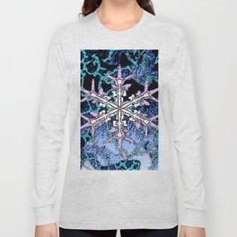 GRAPHIC WINTER SNOWFLAKE PEN & INK DRAWING Long Sleeve T-shirt