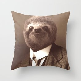 Gentleman Sloth in Sepia Tone Throw Pillow