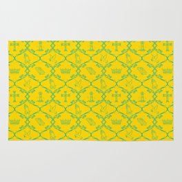 Christian Baroque Art in Yellow and Blue Rug