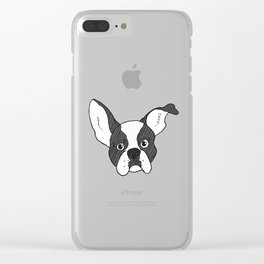 Grumpy Boston Terrier Clear iPhone Case