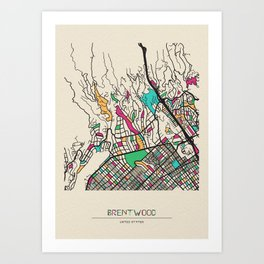 Colorful City Maps: Brentwood, California Art Print