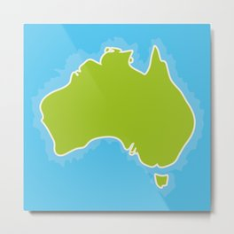 map of Australia Continent and blue Indian Ocean. Vector illustration Metal Print