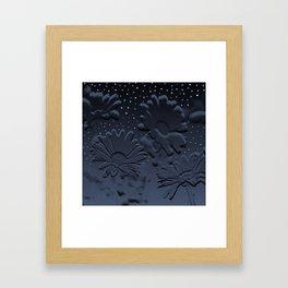 Blue flowers in the night Framed Art Print
