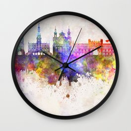Lublin skyline in watercolor background Wall Clock
