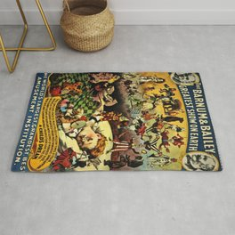 1890 Barnum and Bailey Greatest Show on Earth A Child's Dream Vintage Poster Rug