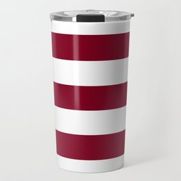 Burgundy - solid color - white stripes pattern Travel Mug