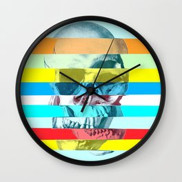 Striped Glitch Skull Wall Clock