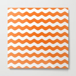 Wave Texture (Orange & White) Metal Print