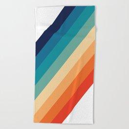 Retro 70s Stripe Colorful Rainbow Beach Towel