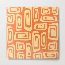 Mid Century Modern Cosmic Abstract 514 Orange and Yellow Metal Print