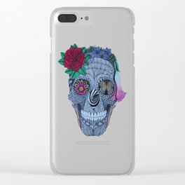 Lady Skull ready to party Clear iPhone Case