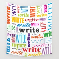 write Wall Tapestries featuring Write (in color) by FloresArts