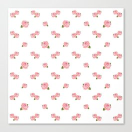 Pink Roses Repeat Pattern Canvas Print