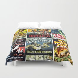 50s Sci-Fi Movie Poster Collage #1 Duvet Cover