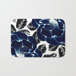 Blue large flowers Bath Mat