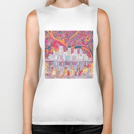 pittsburgh city skyline Biker Tank