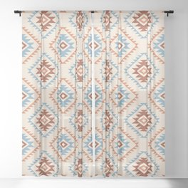 Aztec Style Motif Pattern Blue Cream Terracottas Sheer Curtain