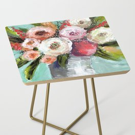 Peach and White Roses Side Table