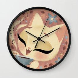 Cute Coffee Cat Wall Clock