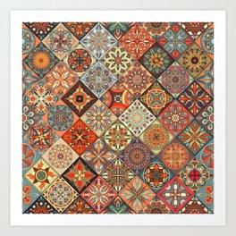 Vintage patchwork with floral mandala elements Art Print