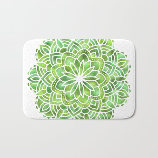 Mandala Green Leaves Bath Mat
