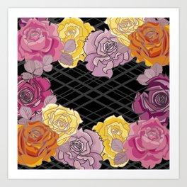 Pink & Yellow Roses Art Print