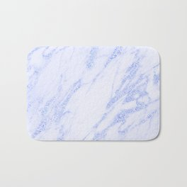 Blue Marble - Shimmery Glittery Cornflower Sky Blue Marble Metallic Bath Mat
