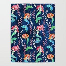 Merry Mermaids in Watercolor Poster