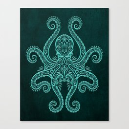 Intricate Teal Blue Octopus Canvas Print