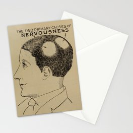 Nervous Norvas - Vintage Art Print - Phrenology Diagram from Vaught's Practical Character Reader (19 Stationery Cards