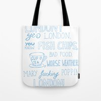 snatch Tote Bags featuring snatch quote blue by Jordan Coombes