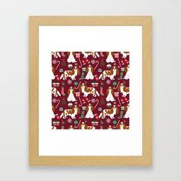 Cavalier King Charles Spaniel blenheim coat christmas pattern dog breed by pet friendly Framed Art Print