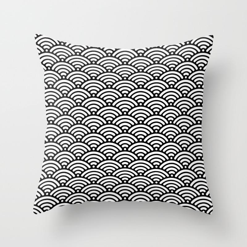 Black White Mermaid Scales Minimalist Throw Pillow