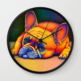 Colorful French Bulldog Rainbow Dog Pet Portrait Wall Clock