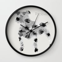pit bull Wall Clocks featuring the pit bull dog  by bri.buckley
