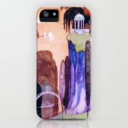 A Hilltop Landscape With A Drum Bridge And A Greek-style Awning iPhone Case