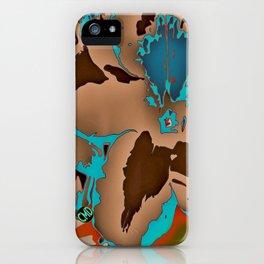 Brown Blue Azalea 1 iPhone Case
